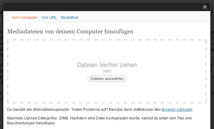 Bilder Upload Wordpress 3.3